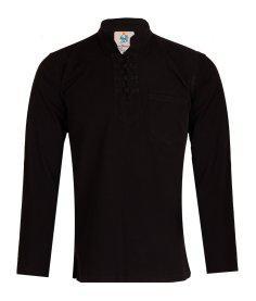 پیراهن مردانه الیاف طبیعی چترفیروزه مدل چهارگره مشکی کد 3