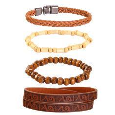 دستبند مردانه کد ro023 مجموعه 4 عددی