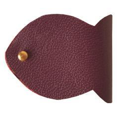کیف هندزفری چرم طبیعی گاوی دست دوز لمونو طرح ماهی مدل GD41